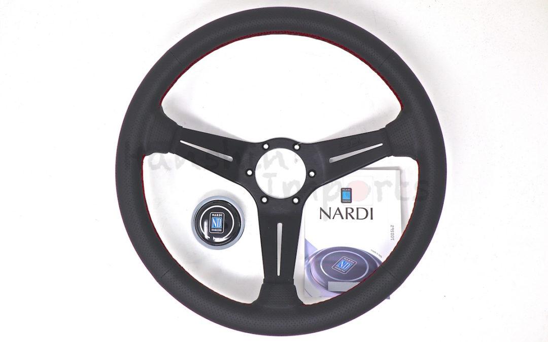 Nardi Steering Wheel Black perforated leather Red stitching Black spokes  350mm 6069.35.2093
