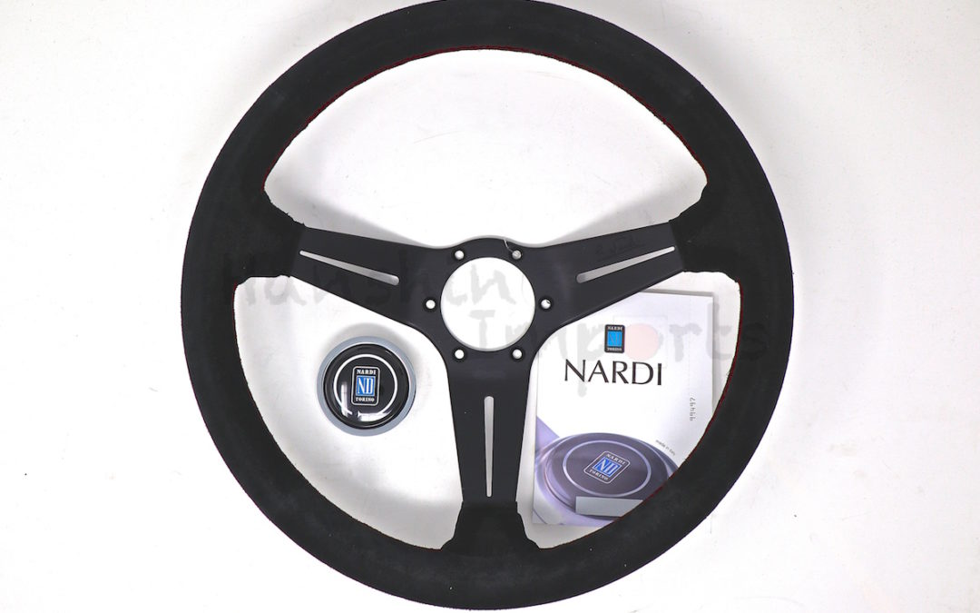 Nardi Steering Wheel Deep Corn Black suede leather Red stitching Black spokes  350mm 6069.35.2094