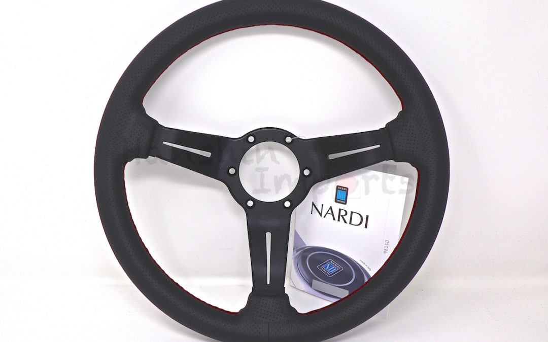 Nardi Steering Wheel Deep Corn Leather Black perforated leather Red stitching Black spokes 330mm 6069.33.2093