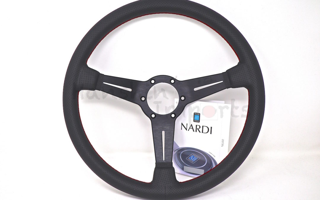 Nardi Steering Wheel ND Classico Black perforated leather and black spokes, red stitching 360mm 6062.36.2092