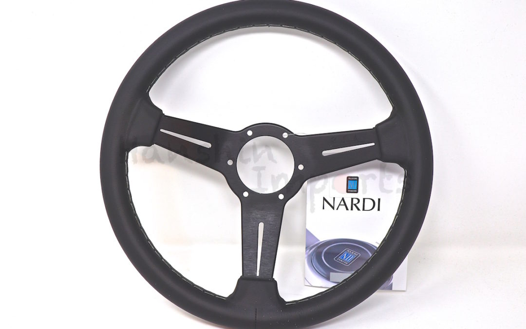 Nardi Steering Wheel ND Classico Black leather and black anodized spokes, grey stitching 330mm 6061.33.2001