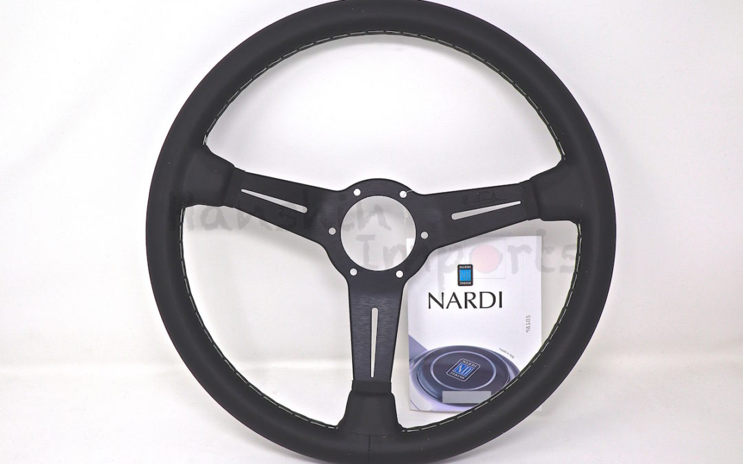 Nardi Steering Wheel ND Classico Black leather and black anodized spokes, grey stitching 360mm 6061.36.2001