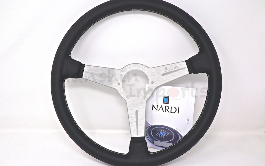 Nardi Steering Wheel ND Classico Black leather and white anodized spokes, grey stitching 360mm 6061.36.1001