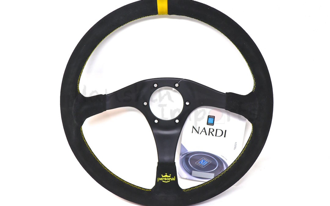 Personal Trophy Leather Steering Wheel Black suede and Black spokes Yellow stitching Yellow H/B 350mm 6518.35.2081