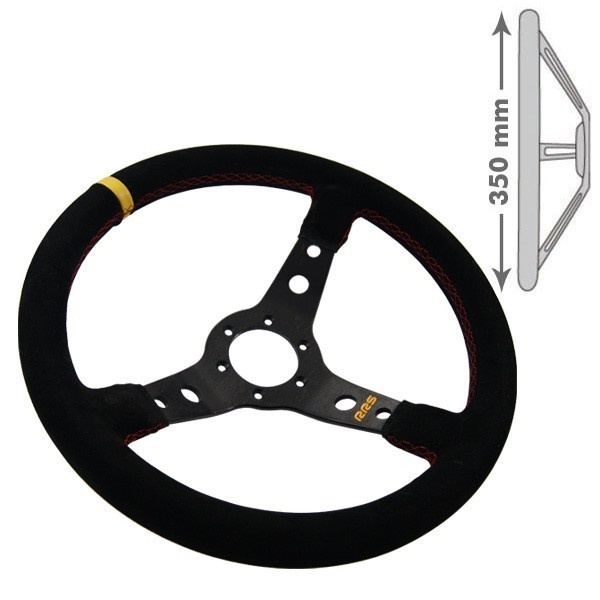 RRS Steering wheel, 3 Branch. 65mm dish depth. Black on black.