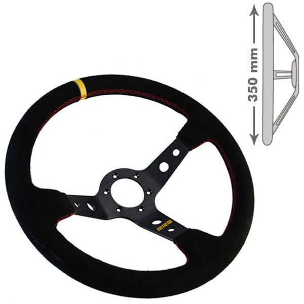 RRS Steering wheel, 3 Branch. 90mm dish depth. Black on black.