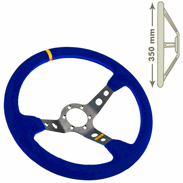 RRS Steering wheel, 3 Branch. 90mm dish depth. Blue on Silver