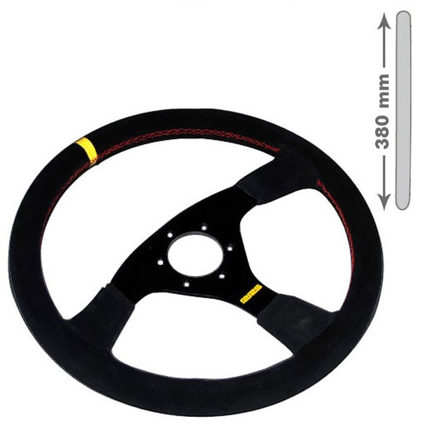 RRS Steering wheel, 3 Spoke. flat, 380mm Black on Black