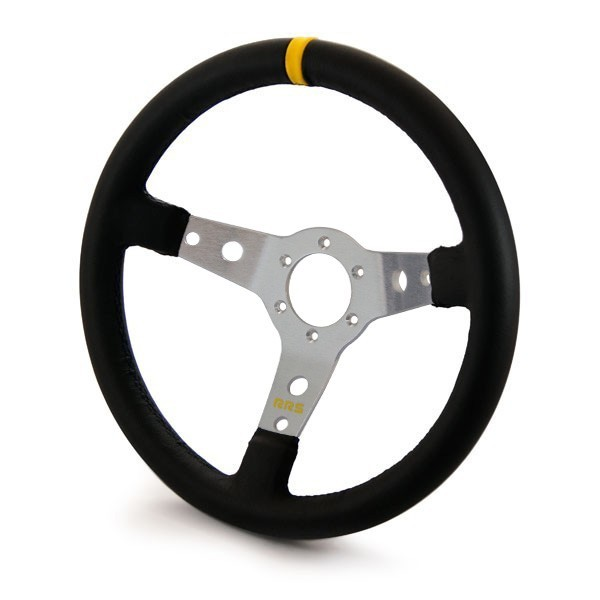 RRS Steering wheel, 3 Spoke 65mm dish, 350mm Black on Silver