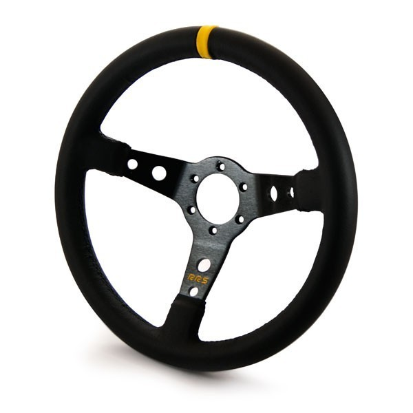 RRS Steering wheel, 3 Spoke 65mm dish, 350mm Black on Black