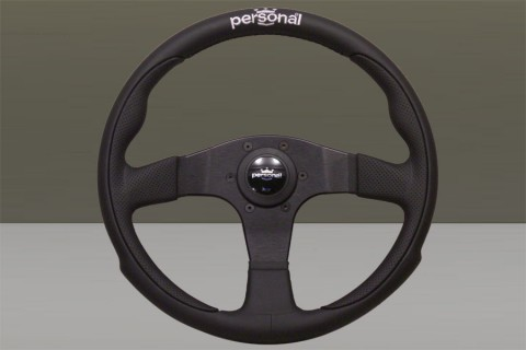 Personal Steering Wheel Black leather and Black suede Black spokes Silver logo embroidered on the grip 330mm 6521.33.2091